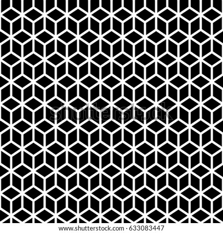 Repeated Black Cubes With White Edges Background Geometric Shapes Wallpaper Seamless Surface Pattern Design
