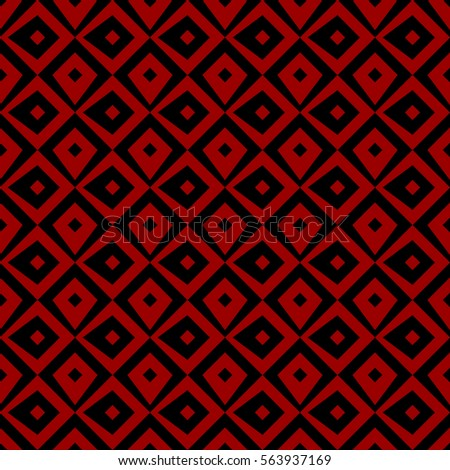 Repeated black figures on dark red background. Ethnic wallpaper. Seamless surface pattern design with rhombuses ornament. Diamonds motif. Digital paper for textile print, web designing. Vector art