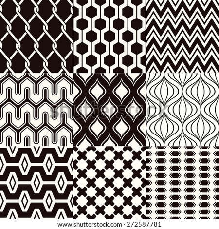 repeated monochrome geometric textured background - stock vector