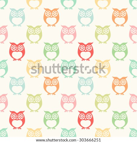 repeated owls cartoon simple pattern wallpaper - stock vector