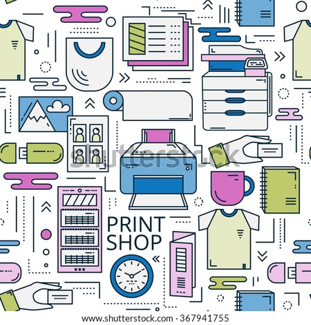 Repeated seamless pattern in linear style. Print shop background with different elements for web design and printable materials. Concept for copy center and publishing house in cmyk colors. - stock vector