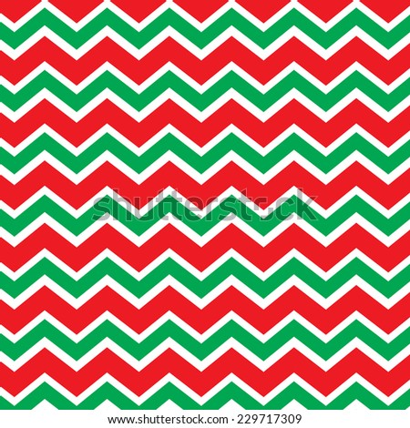 Repeating chevron zig zag background in Christmas holiday colors red and green - stock vector