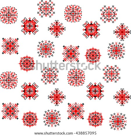 Repeating cross-stitch embroidered folk vector pattern - stock vector