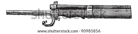 Repeating firearm, The bayonet mount rifle Lebel, vintage engraved illustration. Dictionary of words and things - Larive and Fleury - 1895. - stock vector
