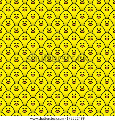 Repeating Pattern of Staring Little Yellow Chicks - Vector - stock vector