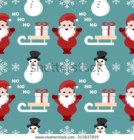 repeating pattern with santa claus, snowman and sledge - stock vector
