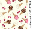 Repeating/Seamless Ice Cream Cone Pattern - stock vector