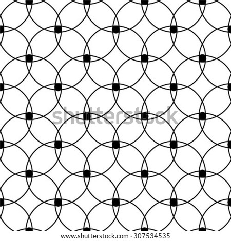Repeating seamless vector background. Black and white texture. circles. - stock vector