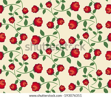 Repeating vintage rose pattern on beige background - stock vector