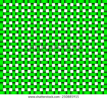 repeating wicker style background green on white - vector format - stock vector