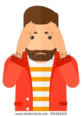 Repentant man clutching his head. - stock vector