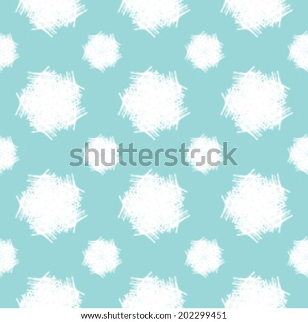 Repetitive pattern of abstract snow flakes on a solid background color. Seamless vector illustration. - stock vector