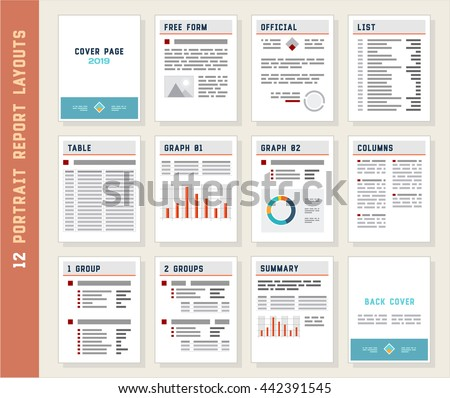 Report Layouts, Document Templates, Portrait Orientation, Vector Set - stock vector