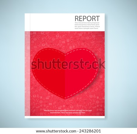 Report red paper heart Valentines day card with sign on Icon love background