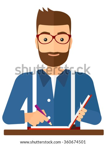 Reporter with writing-pad. - stock vector
