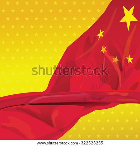 Represent CHINA flag for design element of great power country. This vector file is organized in layers to separate Graphic elements from white stars, shadows stars, halo and flag. - stock vector