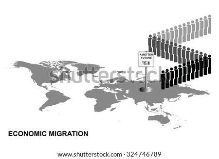 Representation of economic migrants queuing for a better future on world map isolated on white background - stock vector