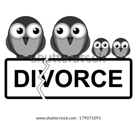Representation of family divorce or break up isolated on white background
