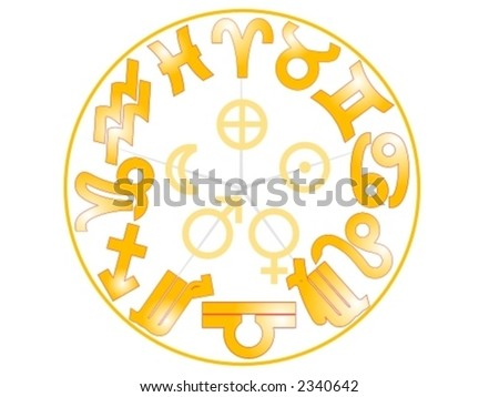 Representation Zodiac Signs Additional Symbols Earth Stock Vector