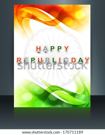 Republic day tricolor brochure template for wave  indian flag design - stock vector