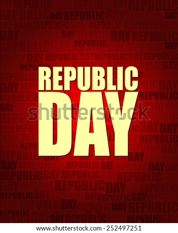 Republic Day with same text on red gradient background.