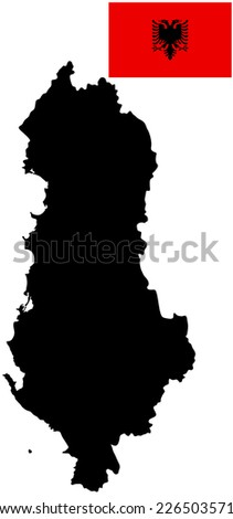 Republic of Albania vector map and vector flag high detailed silhouette illustration isolated on white background. - stock vector