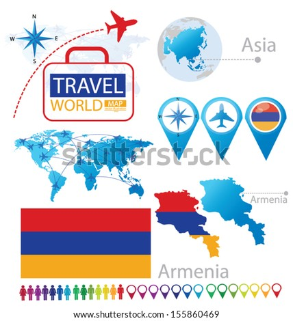 Republic of Armenia. flag. Asia. World Map. Travel vector Illustration. - stock vector