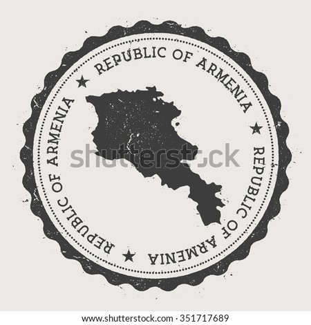 Republic of Armenia. Hipster round rubber stamp with Armenia map. Vintage passport stamp with circular text and stars, vector illustration - stock vector