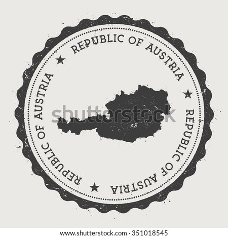 Republic of Austria. Hipster round rubber stamp with Austria map. Vintage passport stamp with circular text and stars, vector illustration - stock vector