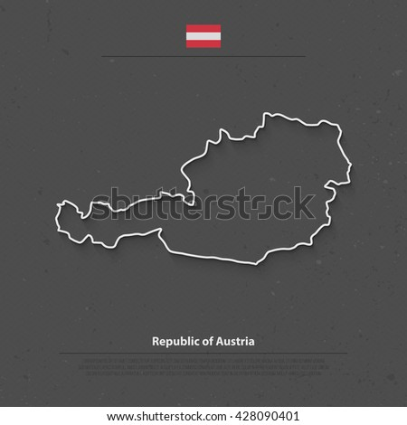 Republic of Austria isolated map and official flag icons. vector Austrian political map thin line contour illustration. European State geographic banner template  - stock vector