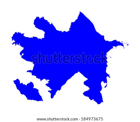 Republic of Azerbaijan -blue vector map isolated on white background. High detailed illustration.  - stock vector