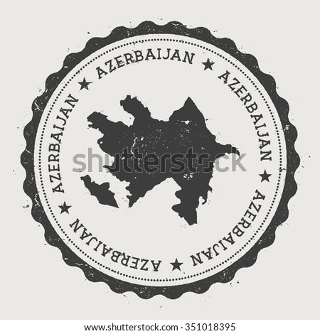 Republic of Azerbaijan. Hipster round rubber stamp with Azerbaijan map. Vintage passport stamp with circular text and stars, vector illustration - stock vector