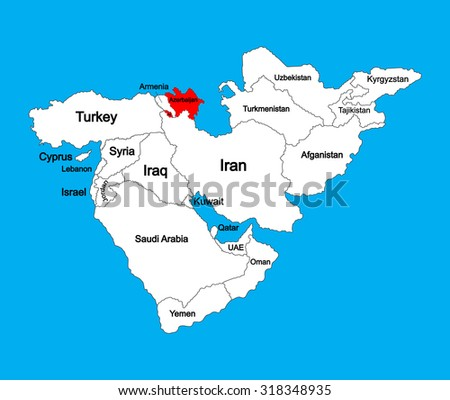 Republic of Azerbaijan vector map silhoutte illustration isolated on Middle east vector map. - stock vector