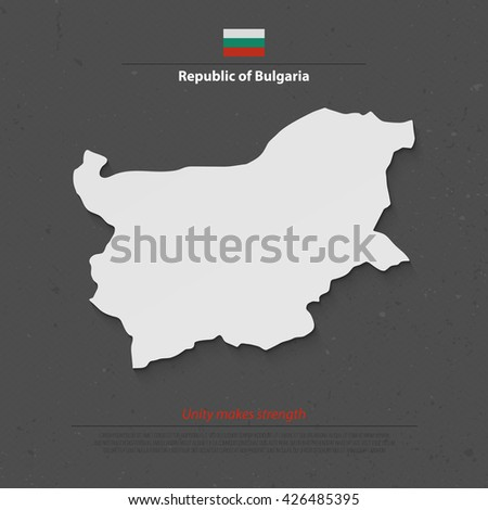 Republic of Bulgaria map and official flag over grunge background.  - stock vector