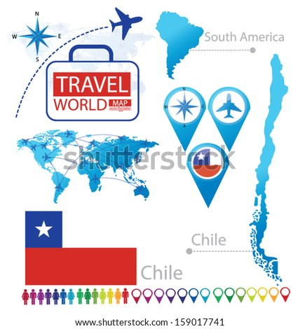 Republic of Chile. flag. World Map. Travel vector Illustration. - stock vector