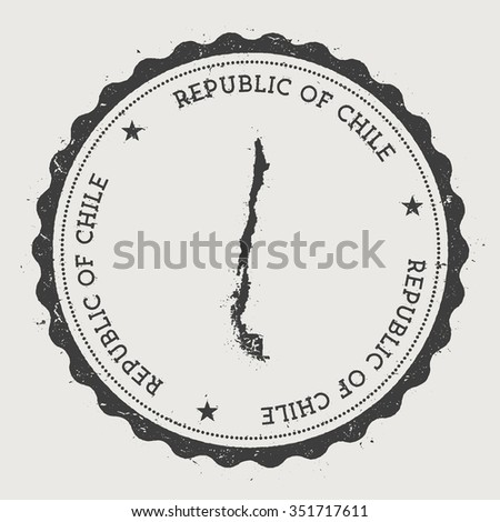 Republic of Chile. Hipster round rubber stamp with Chile map. Vintage passport stamp with circular text and stars, vector illustration - stock vector