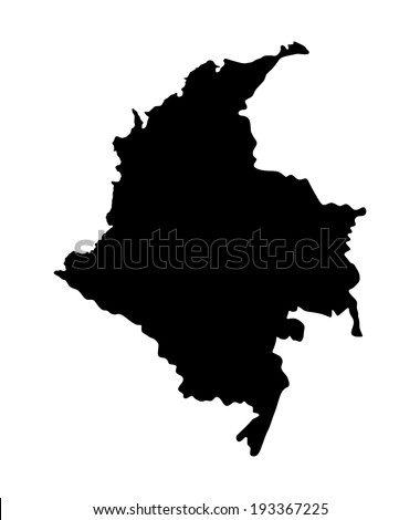 Republic of Colombia vector map isolated on white background. High detailed silhouette illustration. - stock vector