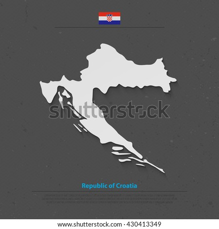Republic of Croatia isolated map and official flag icons. vector Croatian political map 3d illustration. Central Europe country geographic banner template. vector Croatia maps - stock vector