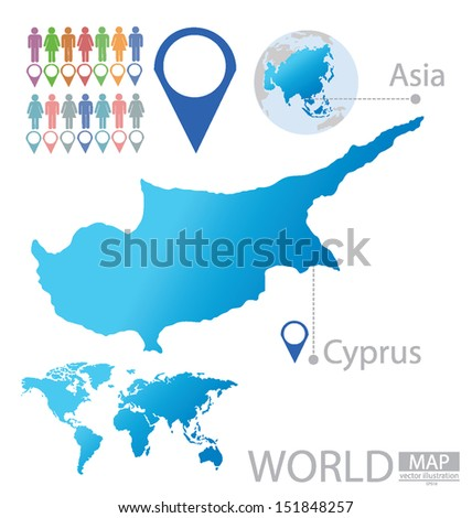 Republic cyprus asia world map vector stock vector 151848257 republic of cyprus asia world map vector illustration gumiabroncs Images