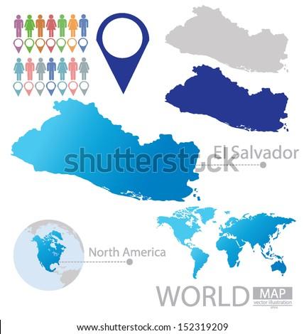 Isometric gps navigation concept world map vectores en stock republic of el salvador north america world map vector illustration gumiabroncs Gallery