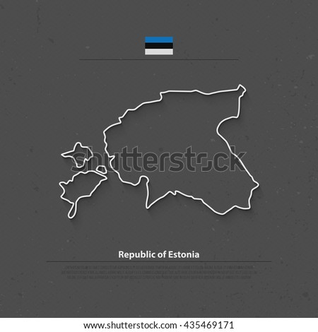 Republic of Estonia isolated map and official flag icons. vector Estonian political thin line map over gray paper texture. European Union country geographic banner template - stock vector
