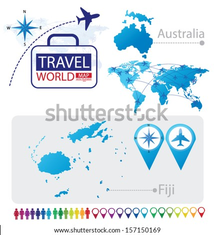Republic of Fiji. Australia. World Map. Travel vector Illustration. - stock vector