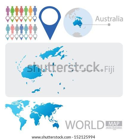 Republic Fiji Australia World Map Vector Stock Vector - Republic of fiji map