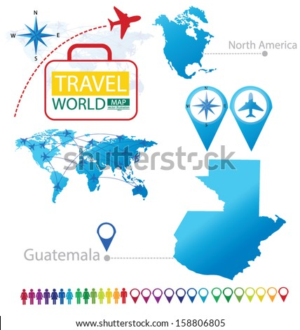 Republic of Guatemala. North america. World Map. Travel vector Illustration. - stock vector
