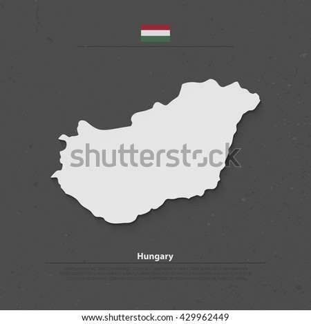 Republic of Hungary isolated map and official flag icons. vector Hungarian political map 3d illustration. Central Europe country geographic banner template - stock vector