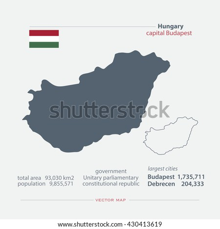 Republic of Hungary isolated maps and official flag icon. vector Hungarian political map icons with general information. European country geographic banner template. vector Hungary map. Infographics - stock vector