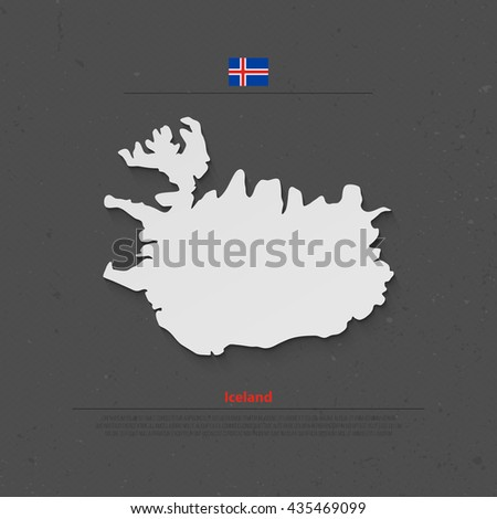 Republic of Iceland isolated map and official flag icons. vector Iceland 3d illustration badge. Nordic Island Country geographic banner template. travel concept map over paper texture - stock vector
