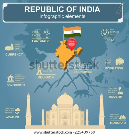 Republic of India  infographics, statistical data, sights. Vector illustration - stock vector