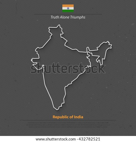 Republic of India isolated map and official flag icons. vector Indian political map thin line style illustration. South Asia country geographic banner template. travel business concept vector map icon - stock vector