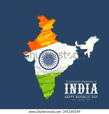 Republic of India map in national tricolor with Ashoka Wheel on blue background for Happy Indian Republic Day celebration.  - stock vector